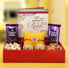 Send online Golden with Sweet at same day delivery   online rakhi to india    #rakhibazaar.com #Designerrakhi