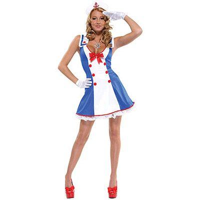 Sexy matrozen verkleedjurkje voor dames. Dit matrozen kostuum bestaat uit een matrozen jurkje met laag uitgesneden V-hals, een matrozen hoedje en handschoentjes. De maat van dit leuke jurkje is ongeveer S/M. Carnavalskleding 2015 #carnaval