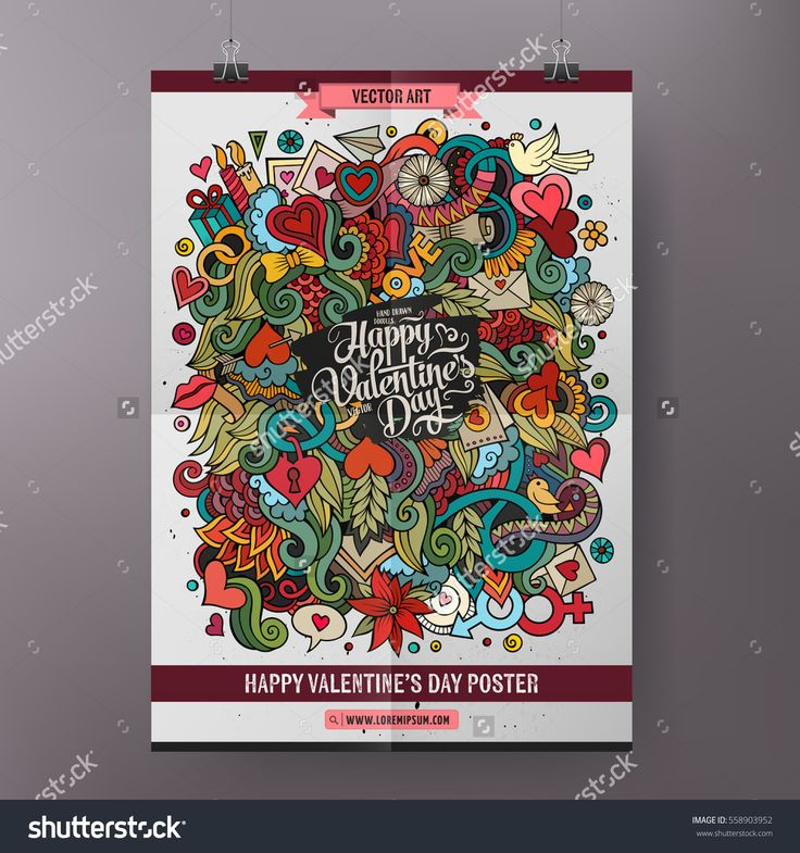 Cartoon colorful hand drawn doodles Love poster template. Very detailed, with lots of objects illustration. Funny vector artwork. Corporate identity design