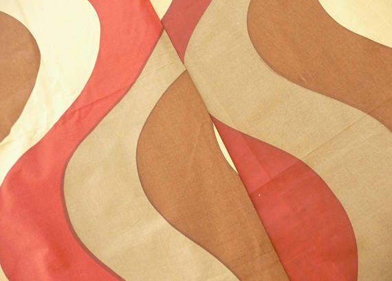Bolda Screen Printed Fabric 1970s Swirl Design by Robin and