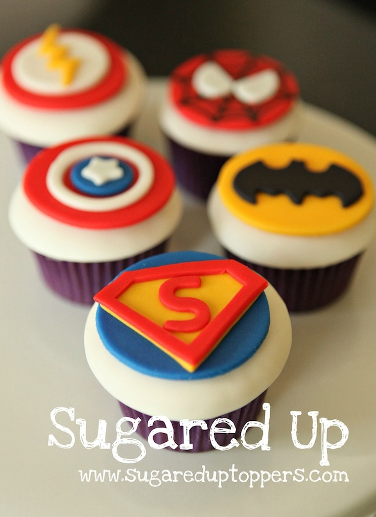 Superhero cupcakes. Spider man, captain America, barman, and superman...also some other guy that I don't know