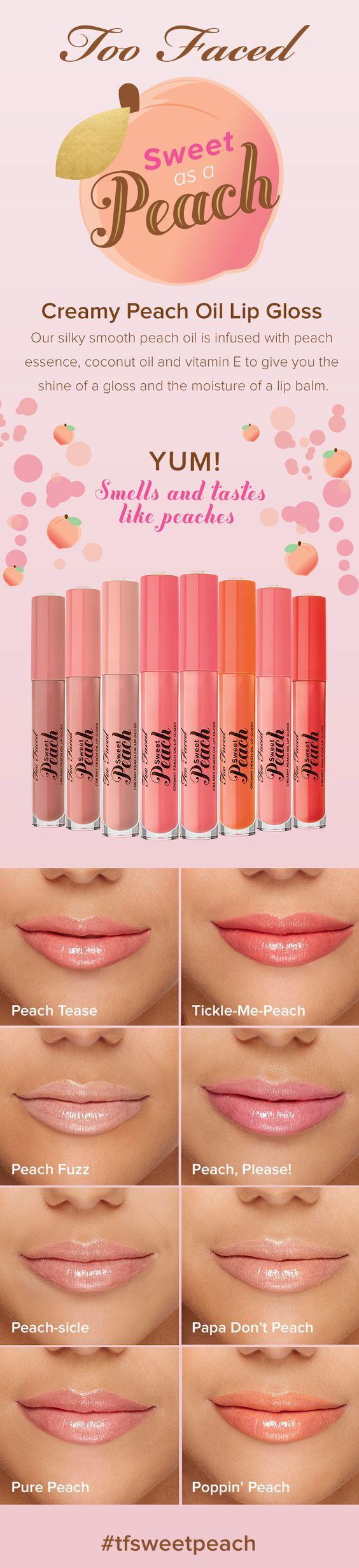 Too Faced Sweet Peach Creamy Peach Oil Lip Gloss Swatches #tfsweetpeach