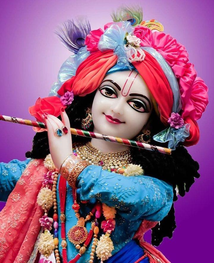 God Krishna Ji Playing With Flute Shree Krishna Wallpapers Krishna Images Iskcon Krishna