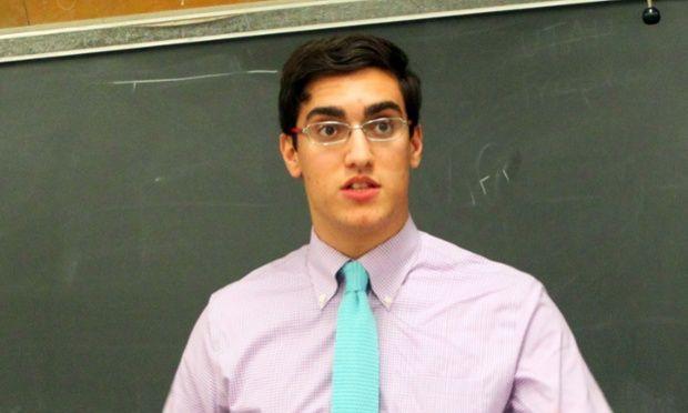 Feras Morad speaks at a collegiate debate tournament at California State University, Northridge in Los Angeles last year.