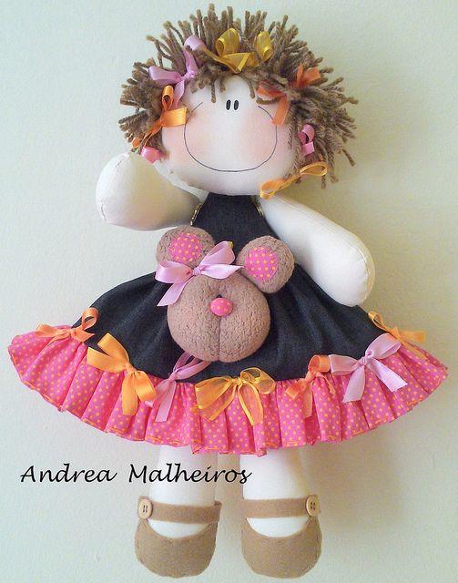graciosa muñeca en paño