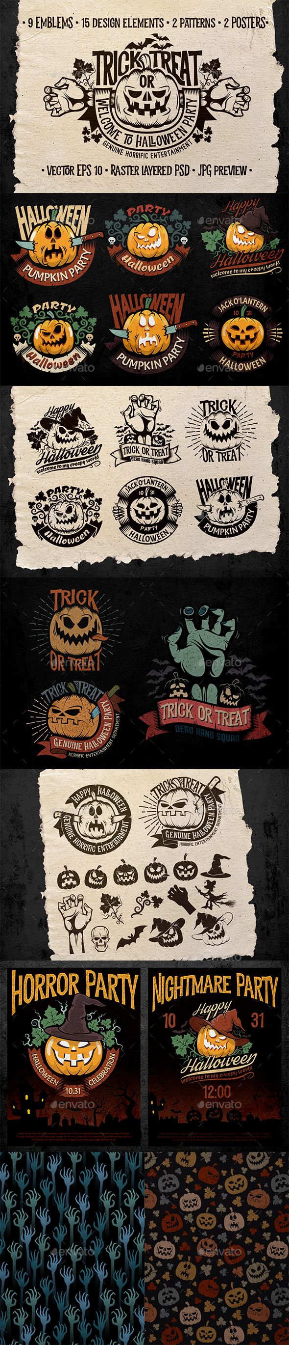 Halloween Logo Pack  — PSD Template #october #decoration • Download ➝…
