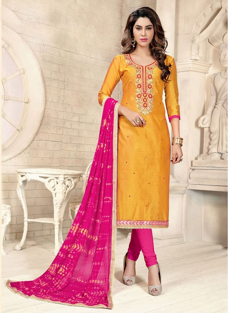 Magnetic Hot Pink and Yellow Chanderi Cotton Trendy Churidar  Suit