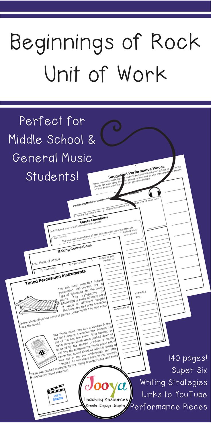 African and Jazz Music Lessons and Worksheets Middle