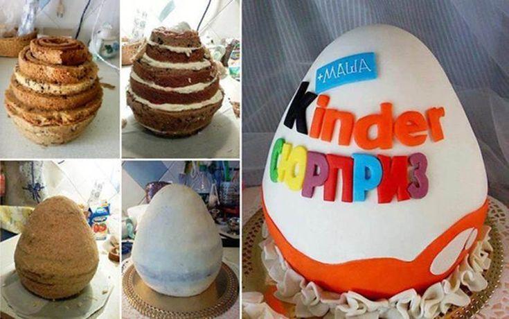 DIY Kinder Egg Shaped Cake 1