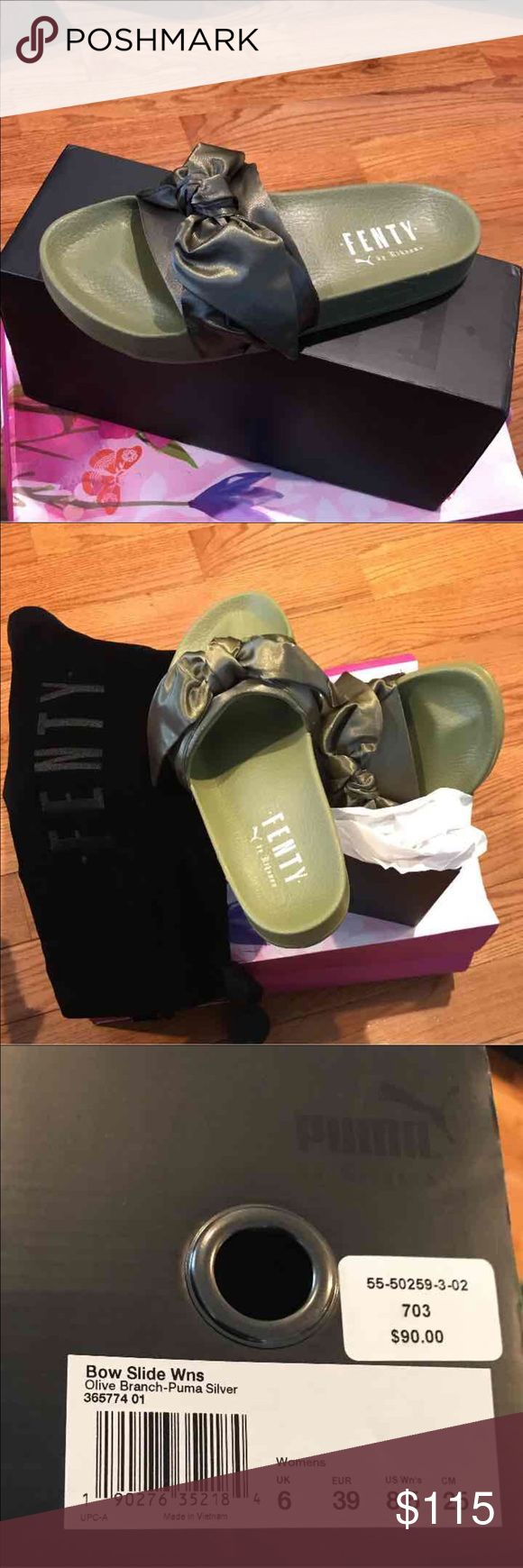 Rihanna slides Brand New olive branch bow slides. 💯% authentic Puma Shoes Slippers