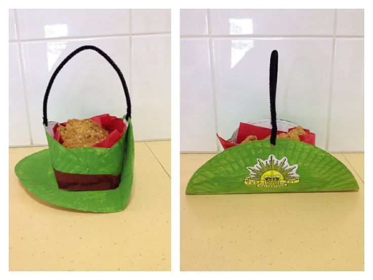ANZAC day craft - Army slouch hat made from two paper plates with a crepe paper band and pipe cleaner handle - used as a carrier for home made ANZAC biscuits! great activity for the kids!