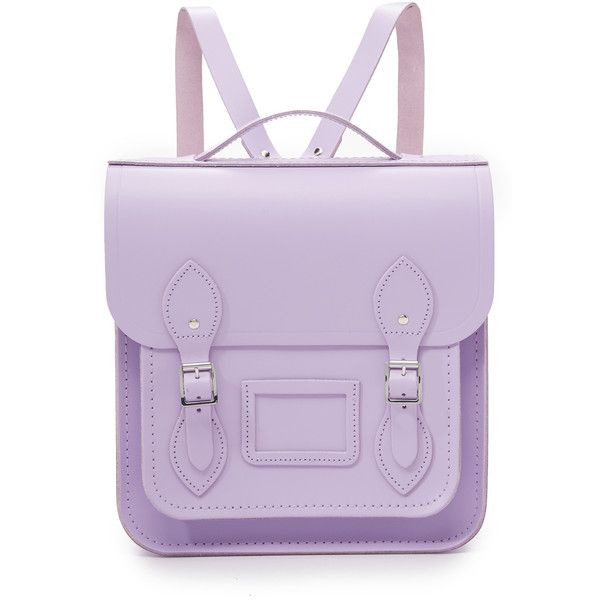 Cambridge Satchel Small Portrait Backpack ($215) ❤ liked on Polyvore featuring bags, backpacks, freesia purple, purple backpack, top handle bag, the cambridge satchel company, leather bags and backpacks bags