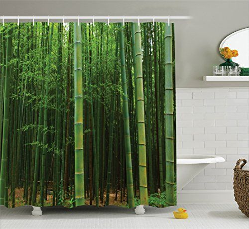 Green Shower Curtain Bamboo Decor By Ambesonne Picture Of A Forest Exotic Fresh Jungle Vision