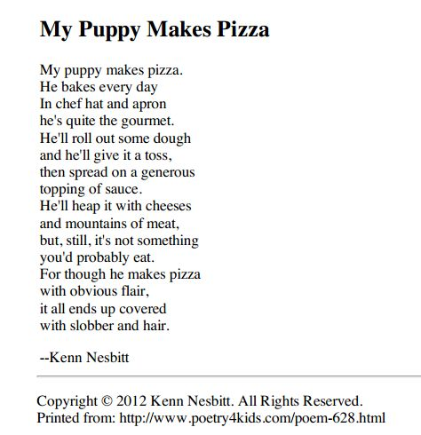 "Kenn Nesbitt's website is full of hilarious poems that the kids will love. This is a great resource for teaching visualizing. ""My Puppy Makes Pizza"" was one of the first I opened up - great descriptive words for making mental images.    http://www.poetry4kids.com/poemprint.php?poemid=628"