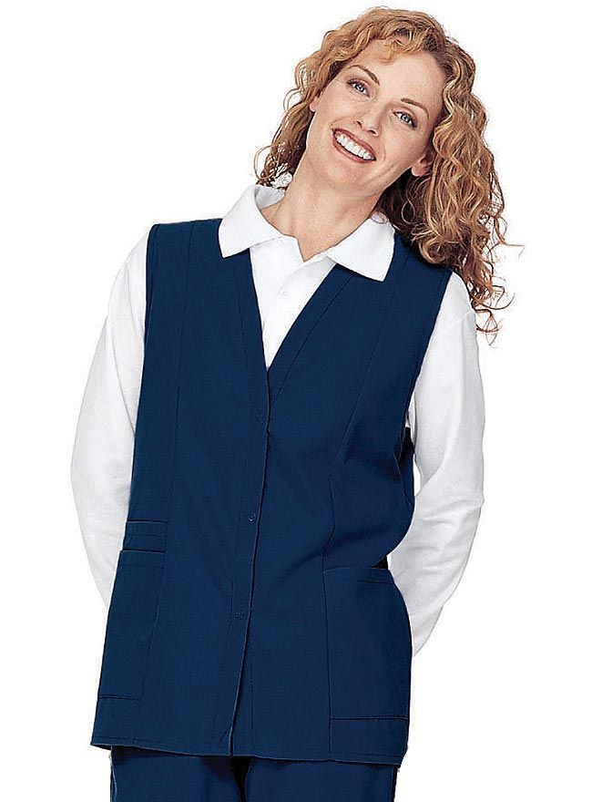 Style Code: (LA-755) Add style to your scrub top with this v-neck medical scrub vest from Landau Uniforms. It features princess seams at the front and back, covered elastic waist at the back, and three-button front for closure. Pockets are also included for easy storage of your tools and personal items.