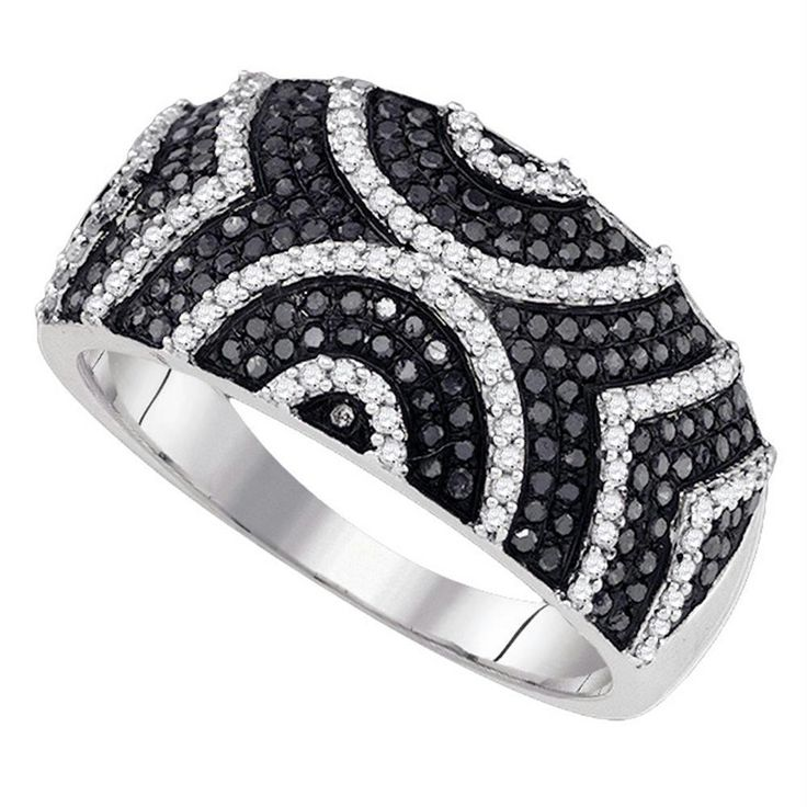 10kt White Gold Women's Round Black Color Enhanced Diamond Symmetrical Stripe Band Ring 5/8 Cttw - FREE Shipping (US/CAN)