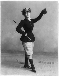 A woman in a daring riding habit, ca 1901 US: A woman in a daring riding habit, ca 1901 US