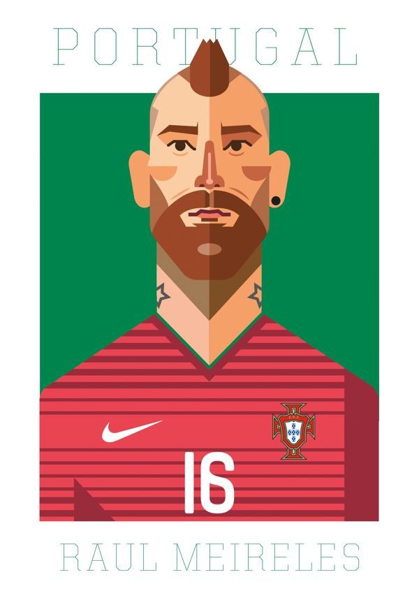 Portuguese national team illustrations on Behance by Joao Cacelas. Raul Meireles.