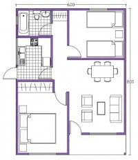 plano de casa de 48m2