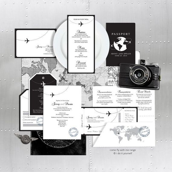 printable wedding stationery set invitation suite aviation destination travel invite reception ceremony package military come fly with me