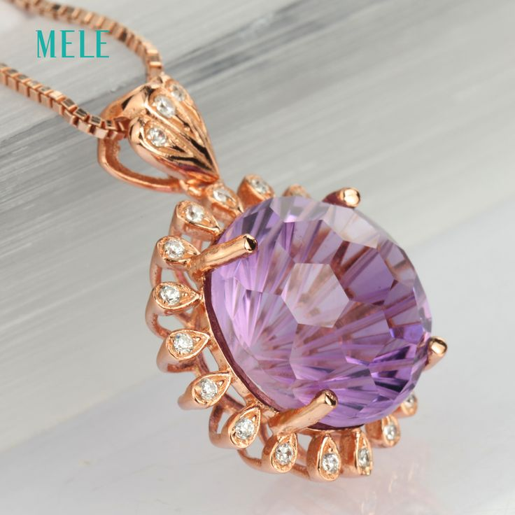 Natural deep amethyst silver pendant round 12mm rose gold plated firework cutting craftsman best choice for. Click visit to buy #FineJewelryPendant #Jewelry #Pendant