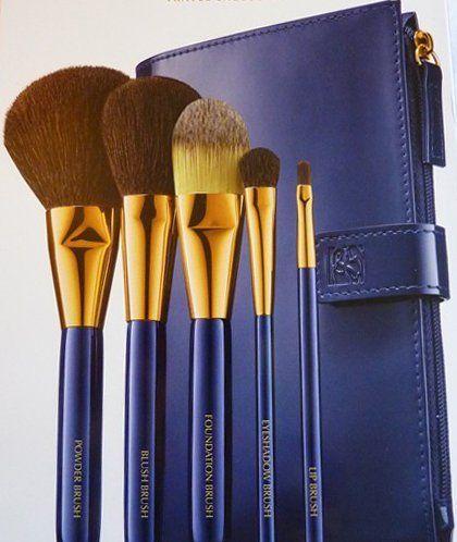 Estee Lauder Cosmetic Makeup Brush Bag by Estee Lauder. $20.00. Includes 5 pockets to hold your brushes & a top flap to cover the brush heads when closed.. Includes one side pouch with zipper closure to hold your Accessories.. Designed to carry all your Estee Lauder makeup brushes.. Estee Lauder Cosmetic Makeup Brush Bag - Brushes in Photo NOT included. Snap closure with Estee Lauder Logo.. Brushes in Photo NOT Included. Bag only.