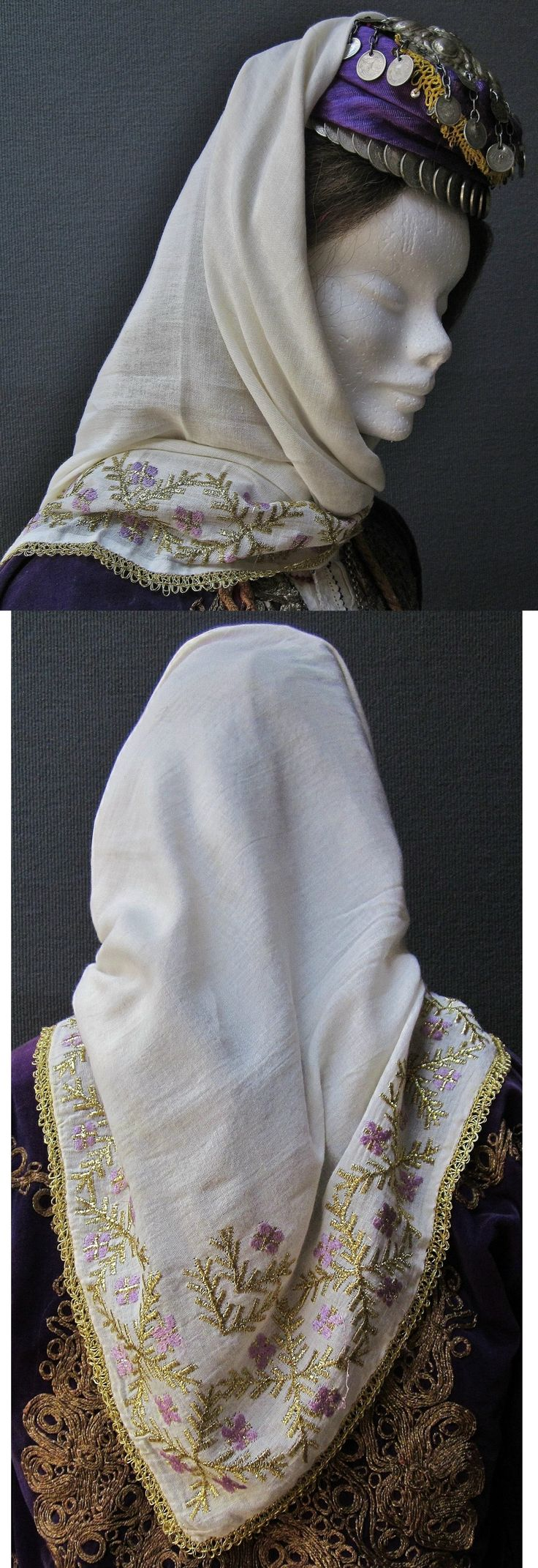 A large 'yazma' (head scarf) from Beypazarı (85 km west of Ankara).  The embroidery is machine made and produced in a semi-artisan manner in a local workshop.  Purchased in Beypazarı in 1994.  (Inv.nr. yaz067 - Kavak Costume Collection - Antwerpen/Belgium).