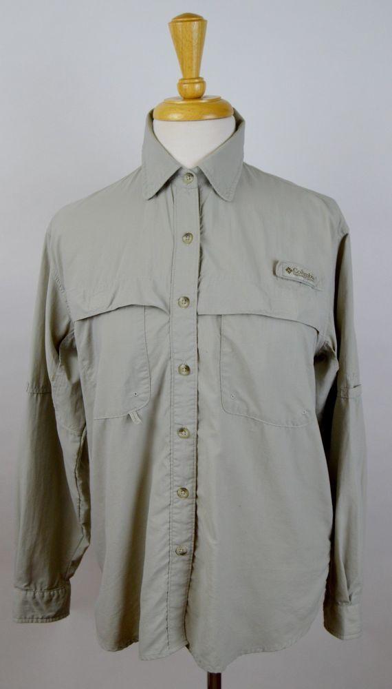 Women 39 s columbia 30 upf beige long sleeve button vented for Columbia fishing shirts womens