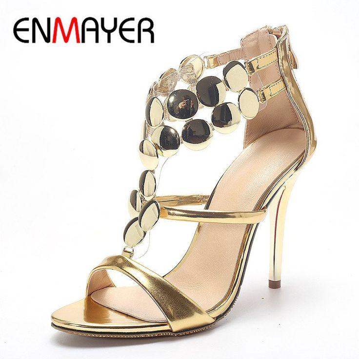 ENMAYER Open Toe Summer Sandals Shoes Woman High Heels Zippers T-strap Gladiator Shoe Golden Plus Size 34-43 Sandals Pumps