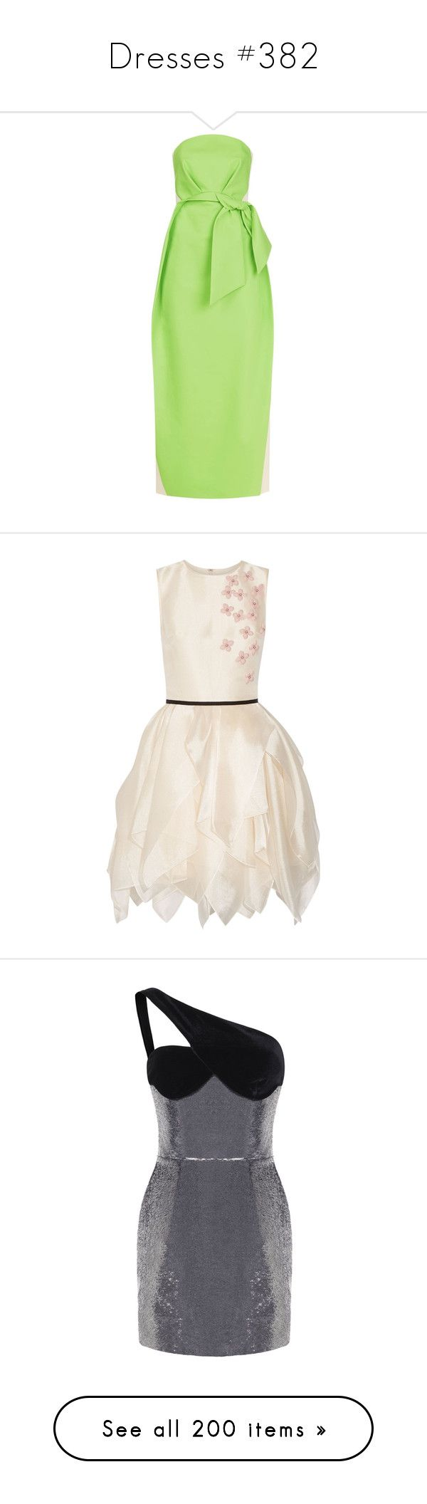"""""""Dresses #382"""" by bliznec ❤ liked on Polyvore featuring dresses, strapless midi dress, oversized dress, green color block dress, midi day dresses, structured dress, white dresses, pink floral dress, cream dress and short dresses"""