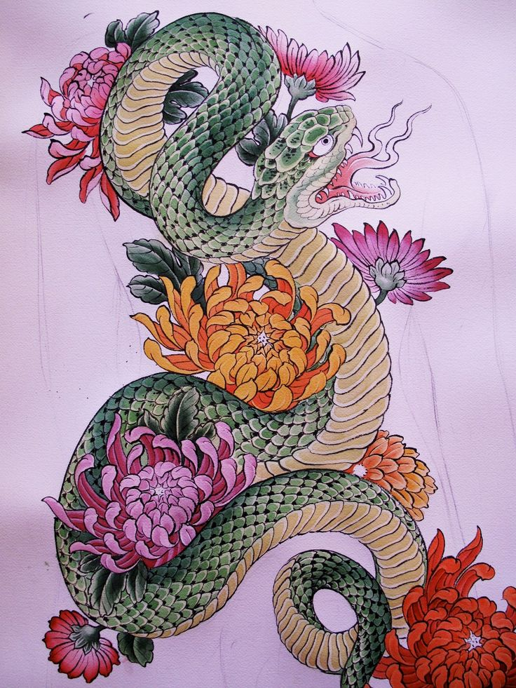 snake tattoo - would change the colours and flowers but decent design for what i want