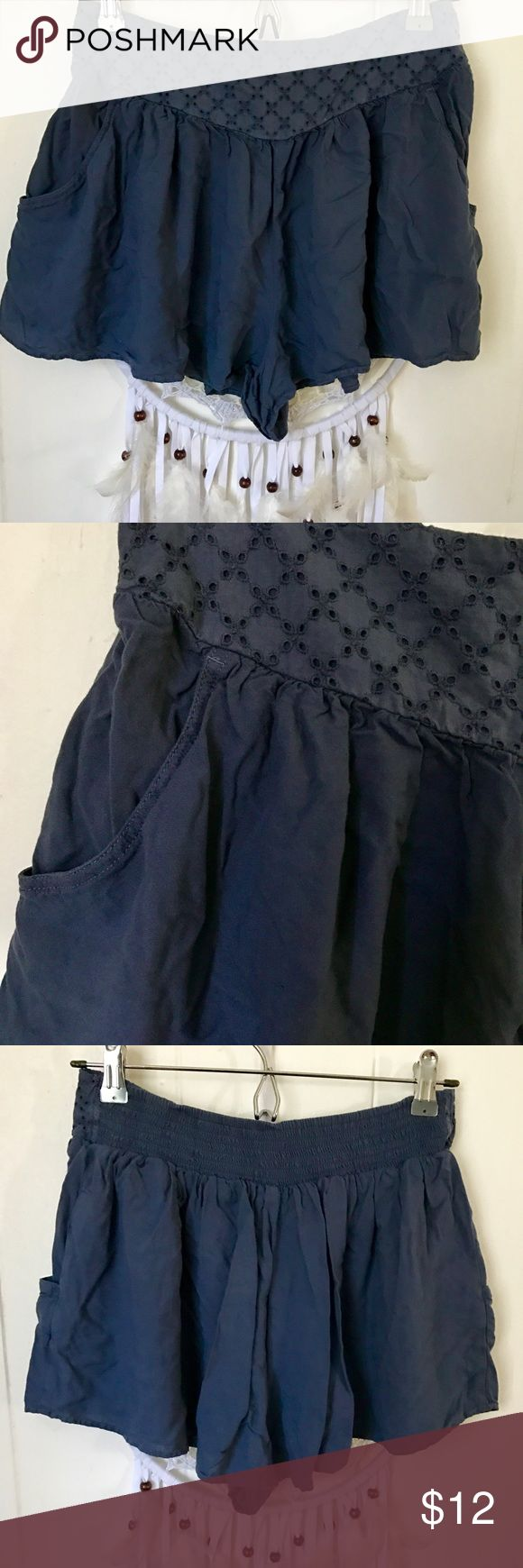American Eagle Outfitters Blue Eyelet Shorts M medium high waist shorts, looks like a skirt. very cute embroidered waist line. Medium American Eagle Outfitters Shorts