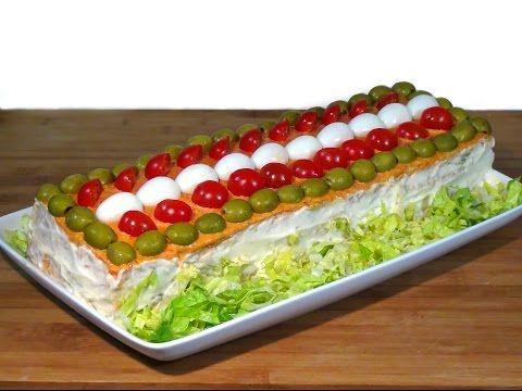 """Receta Pastel salado de verano o pastel frio, """"Sandwichón"""" - Recetas de cocina, paso a paso - YouTube"""
