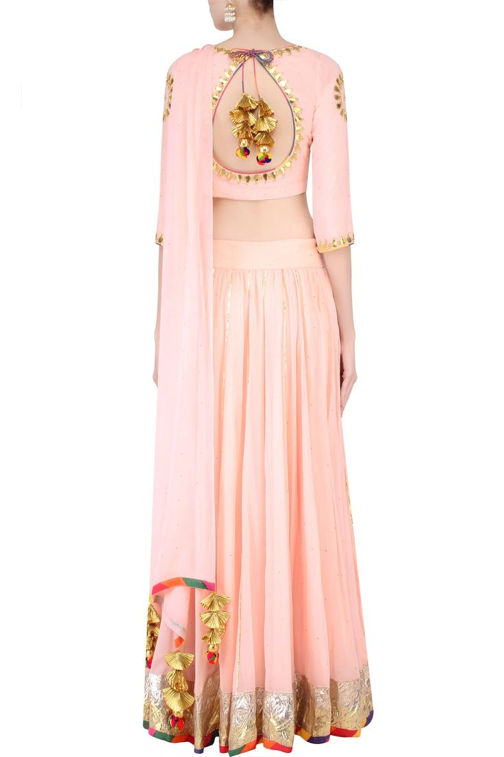 Blush pink gota patti work draped blouse and lehenga skirt set available only at Pernia's Pop Up Shop.