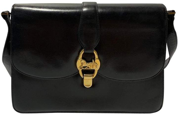 Celine Vintage Black Leather Handbag Black Leather Handbags Black Shoulder Bag