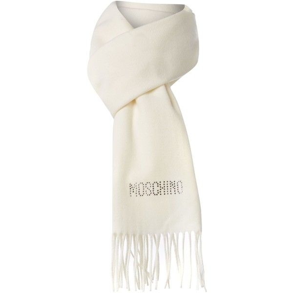 Moschino Cheap & Chic Diamante logo wool scarf ($50) ❤ liked on Polyvore featuring accessories, scarves, moschino, cream, scarves & wraps, wool shawl, long shawl, oblong scarves, woolen shawl and sparkly scarves