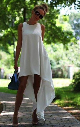 Asymmetric white dress: step by step modification