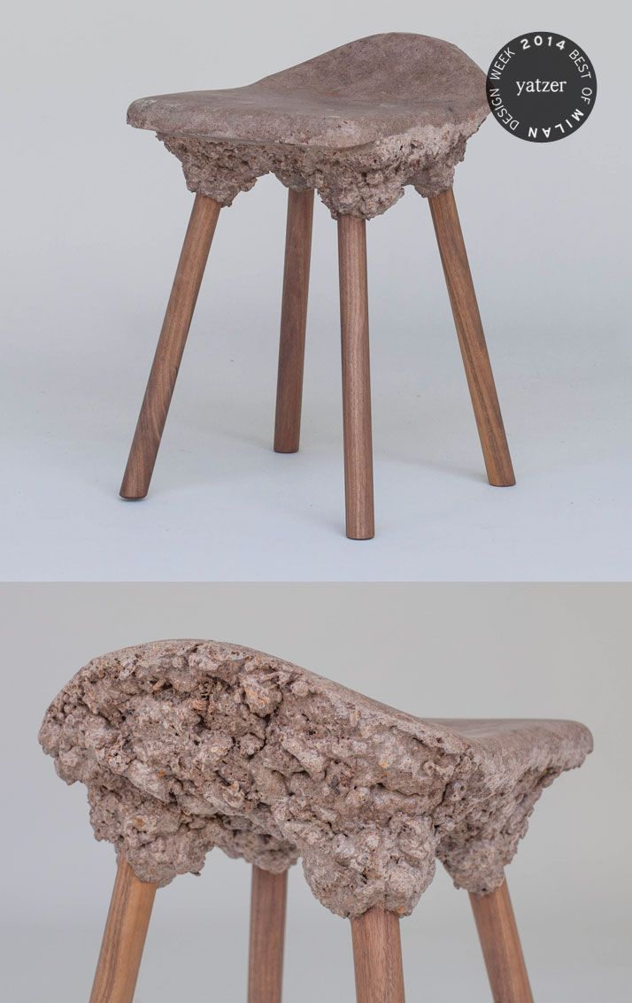 Well Proven Stools by Marjan van Aubel & James Shaw (foam wood from bioresin and waste). Part of the Transnatural Label presentation at Ventura Lambrate-Salone del Mobile Milano 2014.