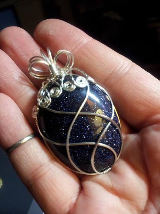 Large Blue Goldstone Pendant