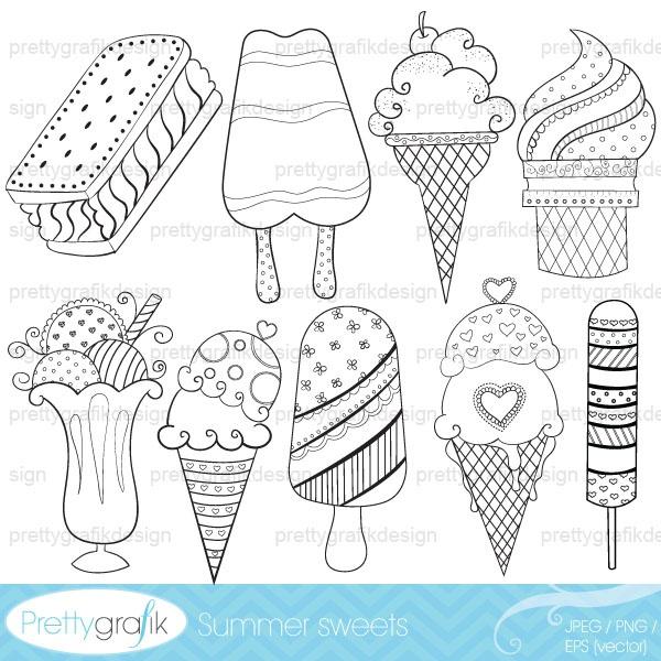 ice cream popsicle digital stamp commercial use - PGDSPK311
