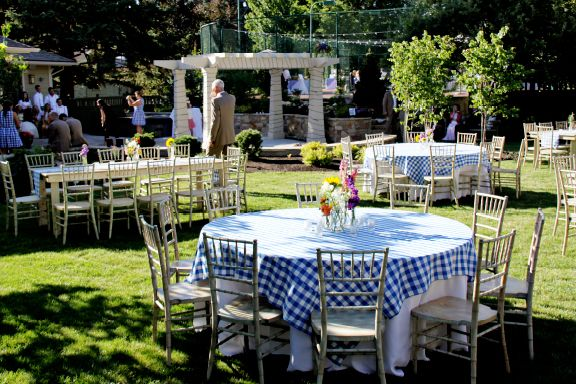 Blue gingham table toppers.