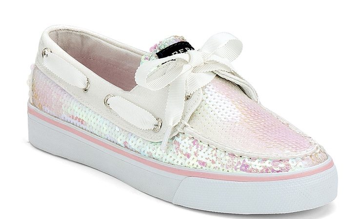White Sparkly Sperrys Shoes