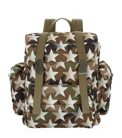 VALENTINO Camo Star Drawstring Backpack. #valentino #bags #leather #backpacks #