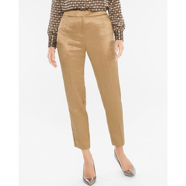 Chico's Women's Metallic Party Trousers ($50) ❤ liked on Polyvore featuring pants, bronze, party pants, white pants, tall white pants, metallic trousers and chicos pants