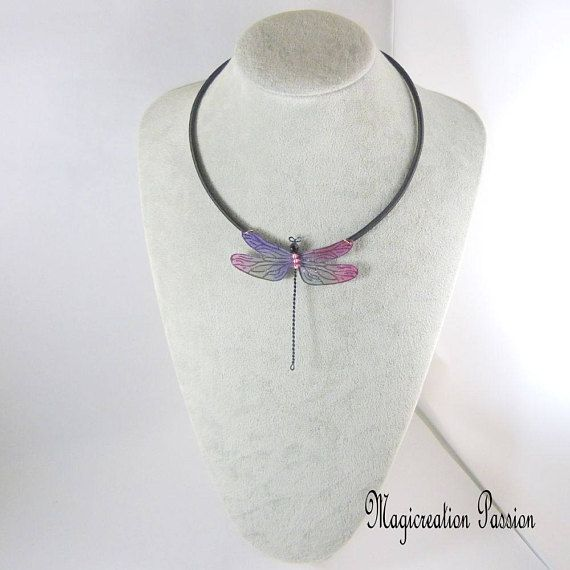 collier grande libellule soie violet et rose corps de perles et métal noir cordon fils de soie noir- romantique-pièce unique-made in France