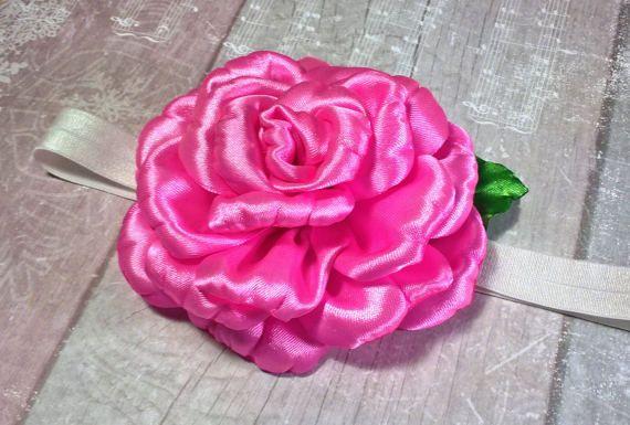 Flower Rose Headband  Photo Prop Newborn Baby Hairbow by OliBows