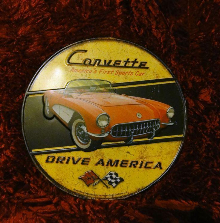 CORVETTE America's First Sports Car DRIVE AMERICAN Chevrolet GM Metal Sign