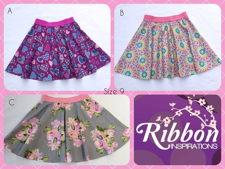 Handmade by Kate from Ribbon Inspirations.  Size 9 thigh length skater skirts (pattern by Boo! Designs). For more information, please visit https://www.facebook.com/HandmadeMarkets