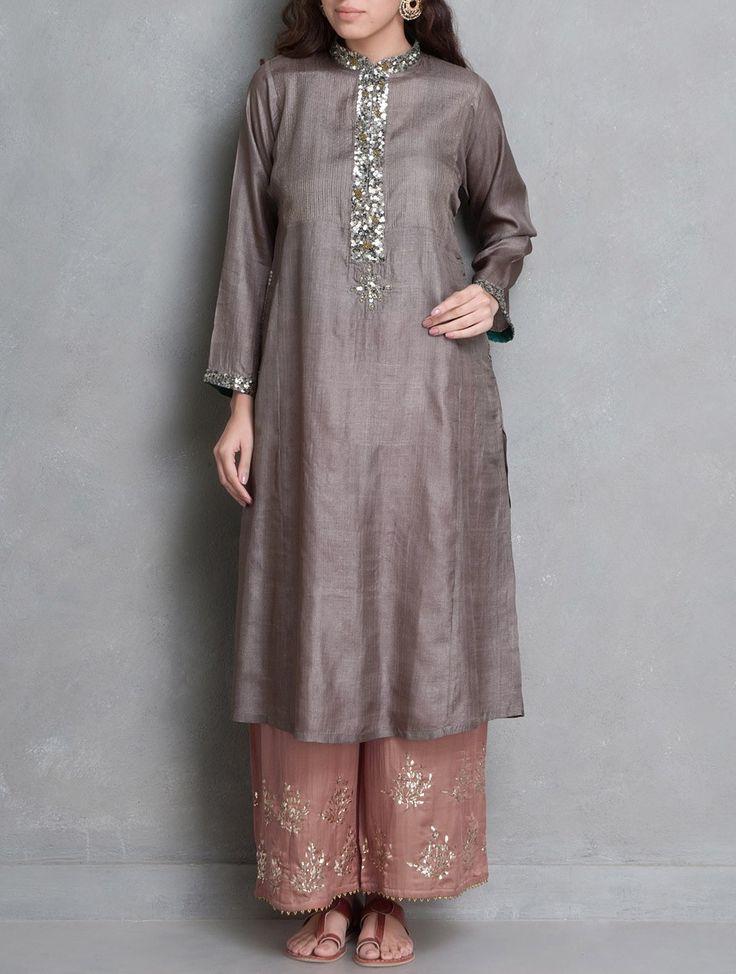 Buy Taupe Sequin & Zari Stitch Detailed Tussar Silk Kurta Online at Jaypore.com