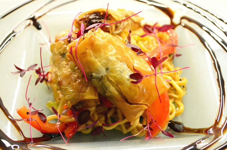 Lunch - Starter - Vegetable spring rolls, sweet chilli noodles, stir fry vegetables at Milebrook House Hotel and Restaurant near Knighton on the borders of Shropshire, Herefordshire and Powys, Wales.